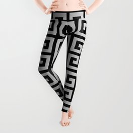 Greek Key (Black & Gray Pattern) Leggings