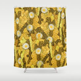 Cacti Camouflage, Floral Pattern, Golden Husk Shower Curtain