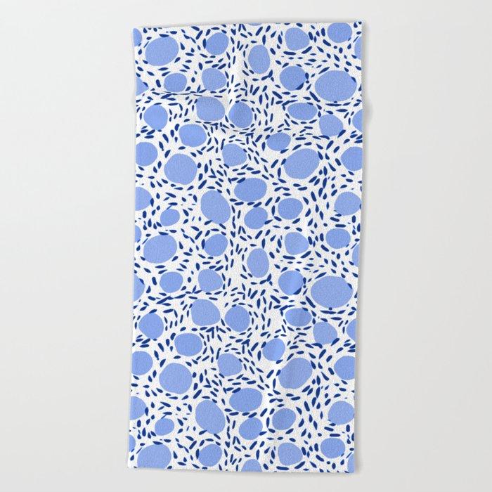 Pebbles cute pattern gender neutral dorm college abstract design minimal modern blue nature art Beach Towel