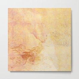 Caravans II:  Asian Print  gold yellow orange origami textile beast design Metal Print