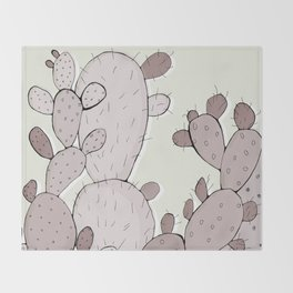 Brown Prickly Cacti Throw Blanket