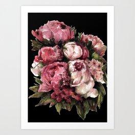 Peony Bouquet - Dark Art Print