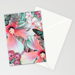 Peachy Mint Hibiscus Tropical Stationery Cards