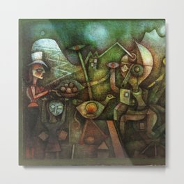 Classical Masterpiece 'Carnival in the Mountains' by Paul Klee Metal Print