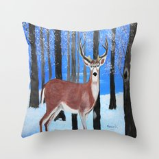 Buck by the trees Throw Pillow