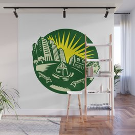 Urban Building Park House Woodcut Wall Mural
