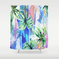 palm trees Shower Curtains featuring Palm trees by Nikkistrange