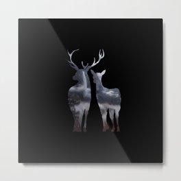 Forest deer family black pattern Metal Print