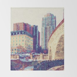 Minneapolis, Minnesota Skyline Stone Arch Bridge Throw Blanket