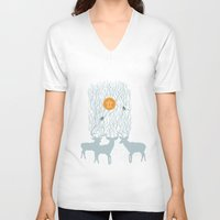 pixies V-neck T-shirts featuring All Good Deer go to Heaven by Cocorrina