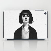 black cat iPad Cases featuring Mrs Mia Wallace by Ruben Ireland