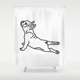 Yoga Frenchie Shower Curtain