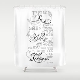 Trust No Kings - white Shower Curtain