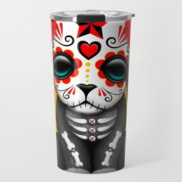 Cute Red Day of the Dead Puppy Dog Travel Mug
