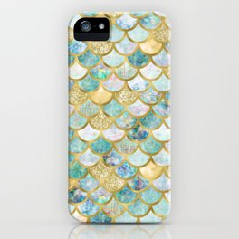 Mermaid Scales Pattern in Green and Gold iPhone Case