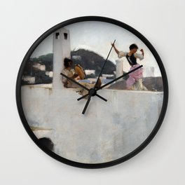 John Singer Sargent Capri Girl on a Rooftop Wall Clock