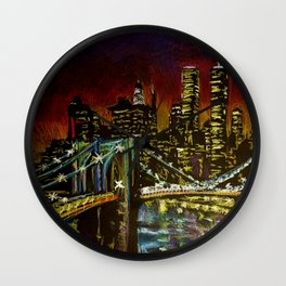 Brooklyn Nights, Oil pastel urban sketch of Brooklyn Bridge from Dumbo in Brooklyn, New York Wall Clock