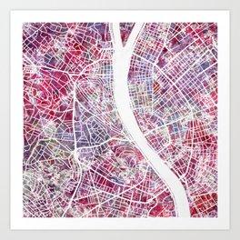 Budapest map Art Print