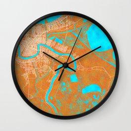 New Orleans, LA, USA, Gold, Blue, City, Map Wall Clock