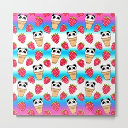 Cute funny sweet adorable little baby panda bear ice cream cones with sprinkles and red ripe summer strawberries cartoon bright white and blue pattern design Metal Print