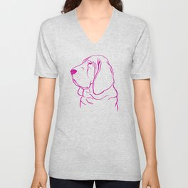 Bloodhound (Pink and Pink Violet) Unisex V-Neck