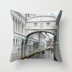 Bridge of sighs in Venice Throw Pillow