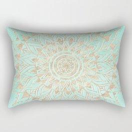 Mint and gold mandala Rectangular Pillow