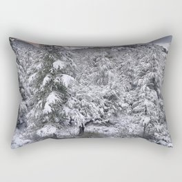 """Mountain light II"". Snowy forest at sunset Rectangular Pillow"