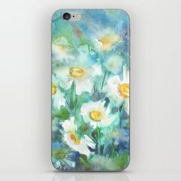 watercolor drawing - white daisies on a blue and green background, beautiful bouquet, painting iPhone Skin