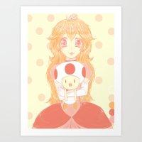 princess peach Art Prints featuring Princess Peach by Nada Baker
