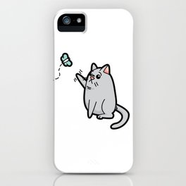 Fat Cat Trying to Get Butterfly iPhone Case