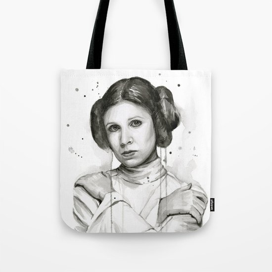 Princess Leia Watercolor Carrie Fisher Portrait Tote Bag