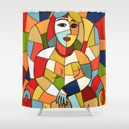 Woman with a Kindle #6 Shower Curtain