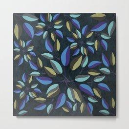 Duo-Toned Leaf pattern 1 (Purple/Gold) Metal Print