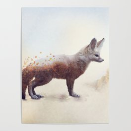 Double exposure of a Fennec Fox and autumn trees and leaves Poster