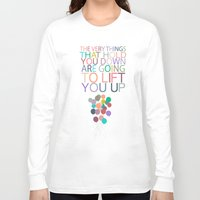 dumbo Long Sleeve T-shirts featuring lift you up.. dumbo inspirational quote by studiomarshallarts