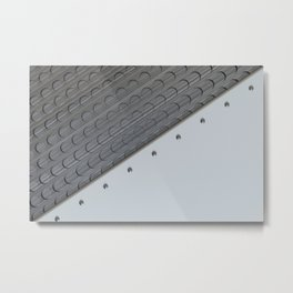 White plate with rivets and circular metal grille Metal Print