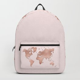 Rose Gold World Map Backpack