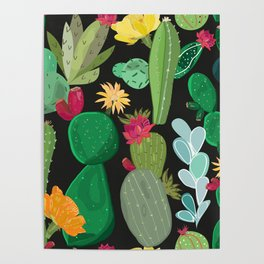 Cactus and Succulents Pattern Poster