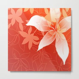 Lily Flowers Graphic white orange Metal Print