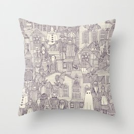 vintage halloween purple ivory Throw Pillow