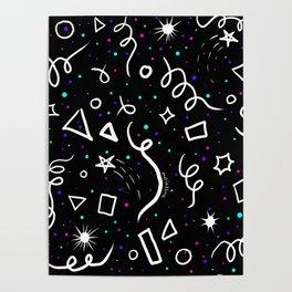 Retro Arcade Galaxy Space Confetti Pattern Poster