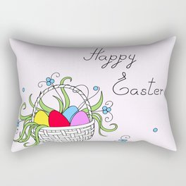 easter basket with eggs Rectangular Pillow