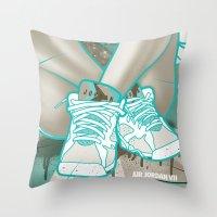 air jordan Throw Pillows featuring Air Jordan VII by Maurice Creative