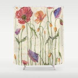 Watercolor Poppy Painting,Poppy Batik, Watercolor Batik,Poppy Watercolor, Wall Art, Floral Art, Shower Curtain