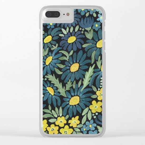Watercolor . Blue daisies . Clear iPhone Case