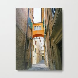 Little alleys and archways in the medieval center of Jesi, Italy Metal Print