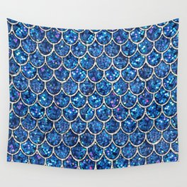 Sparkly Blue & Silver Glitter Mermaid Scales Wall Tapestry
