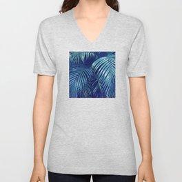 Midnight Blue Rain Forest Jungle Palm Leaves Unisex V-Neck