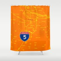 portland Shower Curtains featuring portland by Larsson Stevensem